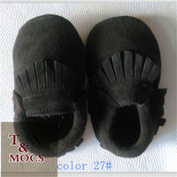 wholesale spanish baby shoes black soft suede leather vamp and sole with tassels for China handmade moccasins kids shoes