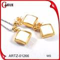 Novos produtos no mercado da china 925 jóias de prata define banhado a ouro jóias conjuntos de colar e brincos set