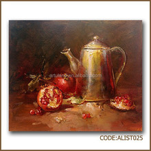 Oil painting still life of pomegranate and kettle