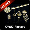 KYOK new designs wrought iron curtain rod finials , metal coated curtain rod,hardware factory crystal finial curtain rod