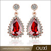 OUXI free shipping pure 18k solid gold plated 18k ruby diamond earrings