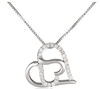 Silver Diamond Double Heart Pendant Necklace for Beautiful Girlfriend in China Big Factory