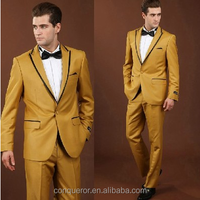 fashion yellow men wedding dress suits