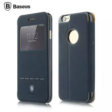Original BASEUS Terse Classic Series Flid Case Genuine Leather Cover Case For iPhone 6/6s 4.7 inch With View Window MT-4427