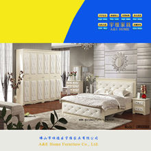 WOW! 8006 Fancy white leather & crystals bedroom furniture Turkish bedroom
