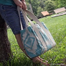Durable Cute Mint Ikat Pattern Canvas Wine Water Bottle Tote Bag
