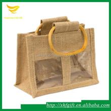 Jute handle bag with windows