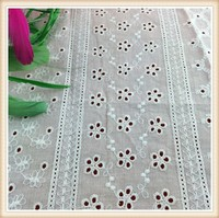 COMPETITIVE PRICE hallow style white emboridery lace fabric for maxi dress/ wedding dress/curtain wholesale in China