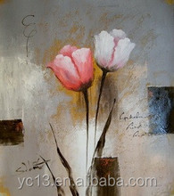 red and white rose oil painting on canvas
