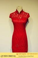 Tea Length Sleeveless Appliqued Lace Red Short Evening Dress Alibaba China