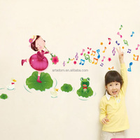 Home Decor Girl on the Lotus Leaf Beautiful Vinyl Wall Stickers for Baby Rooms