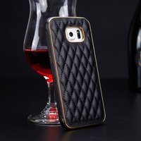Luxury Stylish Gird genuine leather Mobile Phone Cover For samsung GALAXY S6 ,Cover for samsung mobile phone back cover
