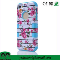 flower design 3 in 1 ULAK hybrid high impact silicone PC case for iphone 5