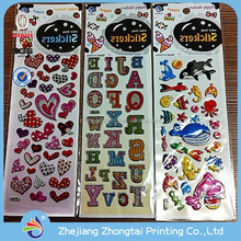 Fashion design puffy sticker lovely foam alphabet letter stickers