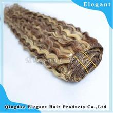 kinky curly human remy hair two tone brazilian hair weft