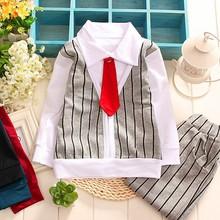 Ropa del bebé del otoño precio venta al por mayor moda de dos piezas conjuntos niños ropa de caballero