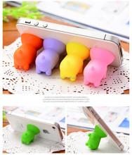 mini sucker cute pig mobile phone holder Soft Silicone pig shape Holder for Phone