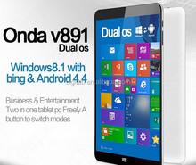 Latest Original 8.9'' Onda V891 dual boot tablet pc 2GB RAM 32GB ROM Intel Z3735F Quad Core 64 bit Win8.1/Android 4.4 Tablet