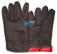 Double Layer Red Fleece Lined Brown Jersey Cotton Oil and Gas Gloves