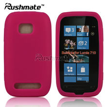 For Nokia Lumia 710 Pink Rubber Mobile Phone Silicone Skin Case Cover