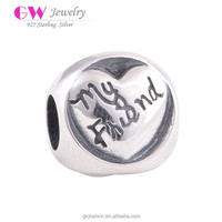 Wholesale Metal Pendants Bracelet Fashion Jewelry For Greek Alphabet Charms T054A