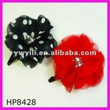 2012 summer chiffon flower hair clip with skull