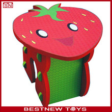 Kids stawberry design eva foam table and chairs play combo