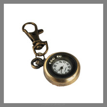 Vintage style promotional gifts , round metal digital clock keychain wholesale