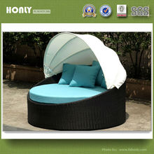 Sun lounger bed with adjustable canopy rattan wicker round sun lounger