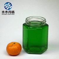 Wholesale hexagon glass fruit jam mason jar with metal twist off cap