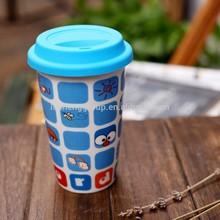 double paroi de dessin animé de chat en céramique tasse à café avec couvercle en silicone