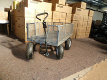 Heavy duty Utility cart with rotating front axle , garden mesh cart , wagon cart, tool cart