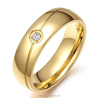 316 Stainless Steel Brused Classic Plain Simple Gold Band Ring