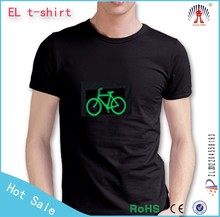 100% cotton black led sound activated t-shirts High quality el ladies tshirts logo custom t-shirts
