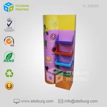 Cardboard Advertising Floor Tiers Display Rack