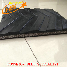 trasfer works Solid Woven rubber chevron patterned conveyor belt