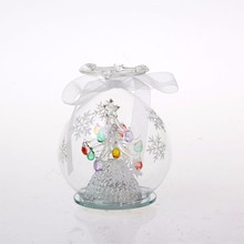 LED Light Glass Ball With Snowflake Pattern And Christmas Crafts Inside