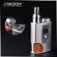 S-body S-CA3 18650 battery mod variable watt 7-50w ecig with big dripper rebuildable atomizer