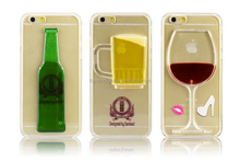 Newest Popular Wine Glass Cocktail Bottle Beer Back Case Cover 3D Liquid Phone Case For Iphone 6 Case
