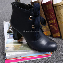 European and America star same style autumn martin boots women's shoes genuine leather thick heel ankle-length short boots