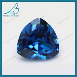 Shining cz gem 5*5mm trillion cut Aqua synthetic zirconia gem dealers