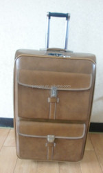 Vintage high quality classtic PU leather business trolley luggage