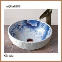 blue and white corner counter top ceramic hand wash basin