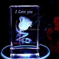 Wedding Gifts 3D Laser Engraved Crystal Flowers Cube with LED Light Rotating Music Base