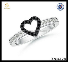 AAA Quality Round Enhanced Ring Black Diamond Cutout Heart Ring Wholesale Silver Ring