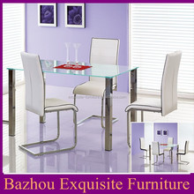 Modern 1+4 Glass top dining table and chair center table set for 4 seaters