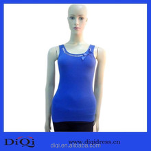 Bowknot lady blue tops, girls party tops, alibaba express factory sexy long vest for women,sexy young girls top
