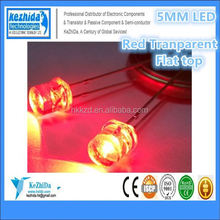 price break 5mm Flat Top(Flat Head) LED LAMP Red Wide Angle Light Ultra bright Transparent Light Emitting Diode LED
