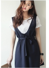 # South Korea Shopping 1266 new summer summer preppy plaid T-shirt dress strap dress suit