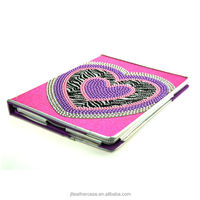 Hot selling Diamonds Heart Pu leather cases for ipad 2 3 4 stand foldable cover for iPad
